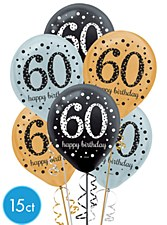 60th Birthday Latex Balloons 15Ct