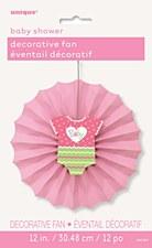 Pink Dots Baby Shower Paper Décor Fan