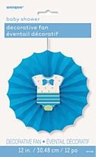 Blue Dots Baby Shower Paper Décor Fan
