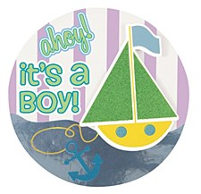 """""""It's a Boy"""" Sailboat Deluxe Button"""