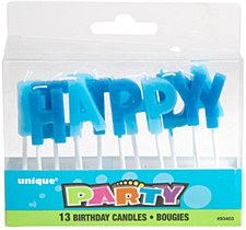 Blue Birthday Candles Letters