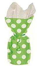 20 Lime Green Polka Dots Cello Bags
