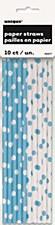 Powder Blue Polkia Dots Paper Straws
