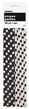 Black Polka Dots Paper Straws