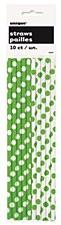 Lime Green Polka Dots Paper Straws