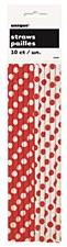 Ruby Red Polk A Dot Paper Straws