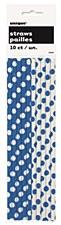 Royal Blue Polka Dots Paper Straws