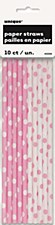 Lovely Pink Pola Dots Paper Straws