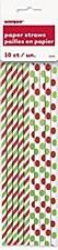 Red 7 Green Polka Dot Paper Straws
