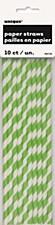 Lime Green Stripes Paper Straws