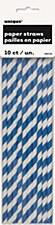 Royal Blue Stripes Paper Straws