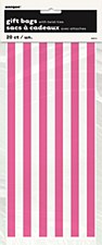 20 Hot Pink Stripes Cello Bags