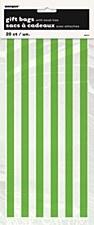 20 Lime Green Stripes Cello Bags