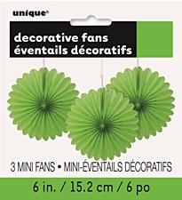 3 Mini Lime Green Fans