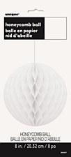 """White 8"""" Honeycomb Ball"""