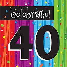 "Milestone Celebrations ""40"" Lunch Napkins, 16ct"