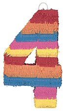 Number 4 Pinata, Multicolor
