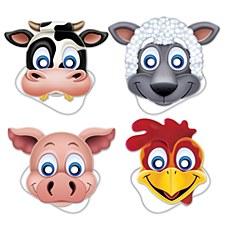 Farm Animal Masks, 4ct