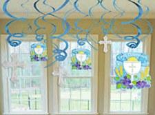 Communion Value Pack Foil Swirl Decorations - Blue 12ct