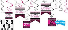 Black & Pink Customizable Value Pack Foil Swirl Decorations - 12ct