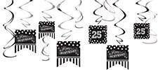 Black & White Customizable Value Pack Foil Swirl Decorations - 12ct