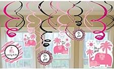 Sweet Safari Girl Value pack Foil Swirl Decorations - 12ct
