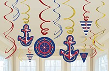 Anchors Aweigh Value Pack Foil Swirl Decorations - 12ct