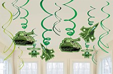 Camouflage Hanging Foil Swirl Decorations Value Pack