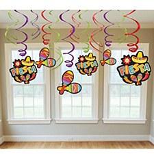 Fiesta Value Pack Foil Swirl Decorations - 12ct
