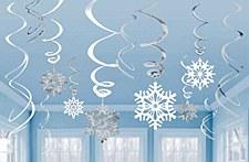 12 Snowflake Swirl Decorations