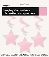 Lovely Pink Stars Hanging Swirls 3ct