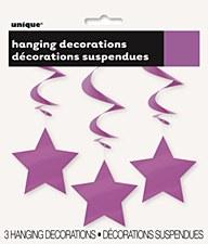 Purple Stars Hanging Swirls 3ct.