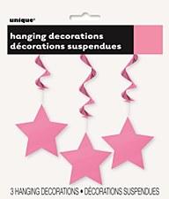 Hot Pink Stars Hanging Swirls 3ct.