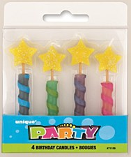 4 Star Top Birthday Candles