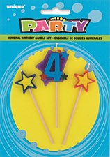 4 Numeral Star Birthday Candles