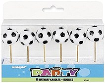 3D Soccer Ball Pick Birthday Candles 6ct