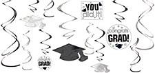 Grad Danglers White&Black Swirl 12pc