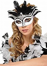 Black and White Sequenced Mystical Mask