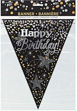 12 FT Black and Silver Glittering Birthday Pennant Banner