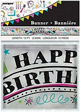 12Ft Foil Doddle Happy Birthday Banner