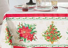 Festive poinsettia Christmas Tablecover