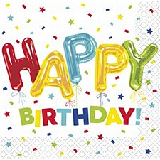 Happy Balloon Birthday Bev Napkins