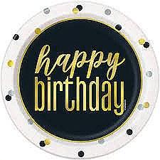 """Metallic Happy Birthday 7"""" Plates"""