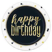 """Metallic Happy Birthday 9""""Plates"""
