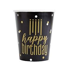 Metallic Happy Birthday Cups