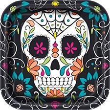 """skull day of dead 9"""" plate"""