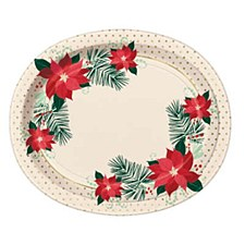 Red & Gold Poinsettia 12in Oval Plate