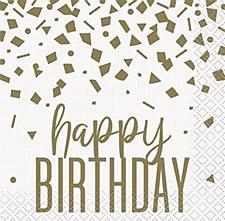 Confetti Gold Birthday Bev Napkins