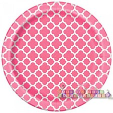 Hot Pink Quatrefoil 7IN Plate