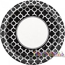 Black Quatrefoil 9IN Plate